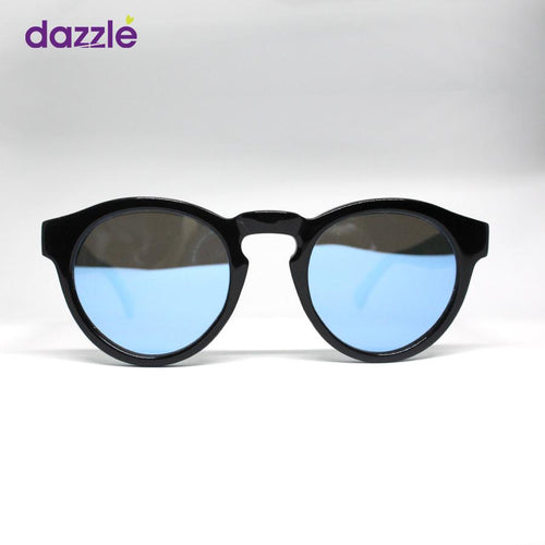 Dapper Unisex Reflective Mirrored Sunglasses - Black & Blue
