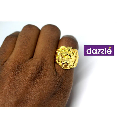 Gold Lion Head Fashion Statement Ring for Men - 11 - Merch