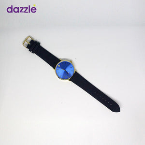 Keep Moving Men's Leather Watch - Blue - Merch