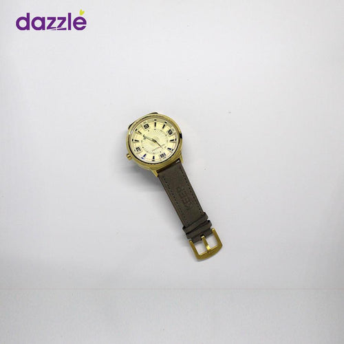 Keep Moving Men's Leather Watch - Grey and Gold - Merch