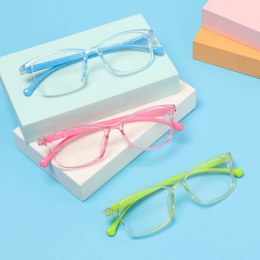 Kids Colorful Silicon Anti-Blue Light UV Glasses - Pink