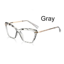 Load image into Gallery viewer, Ladies Transparent Grey & Gold Cat Eye Optical Glasses Frame