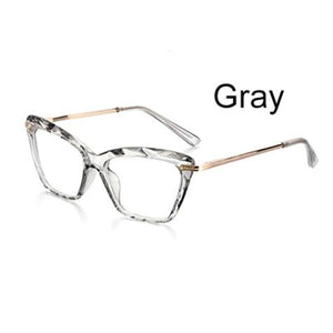Ladies Transparent Grey & Gold Cat Eye Optical Glasses Frame
