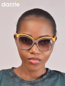 Ladies' Yellow and Brown Sunglasses with Gold Detail -
