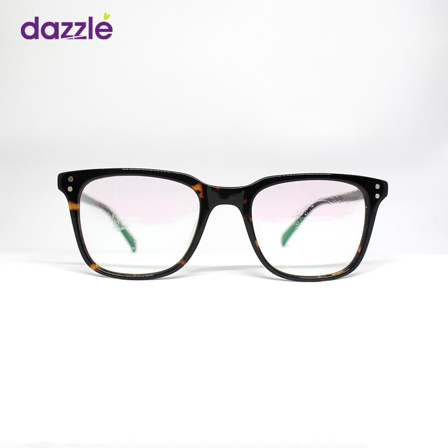 Male & Female Acetate Tortoise Print Square Eyeglasses -