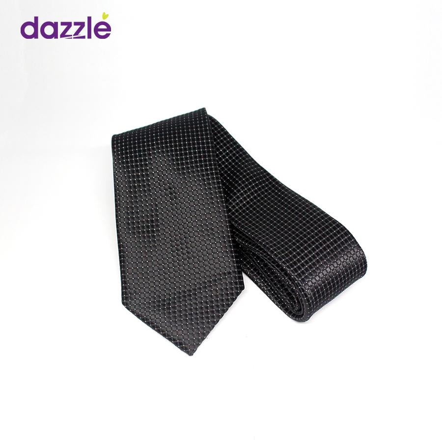 Men's Black Necktie with Minimal Silver Dots - Merch