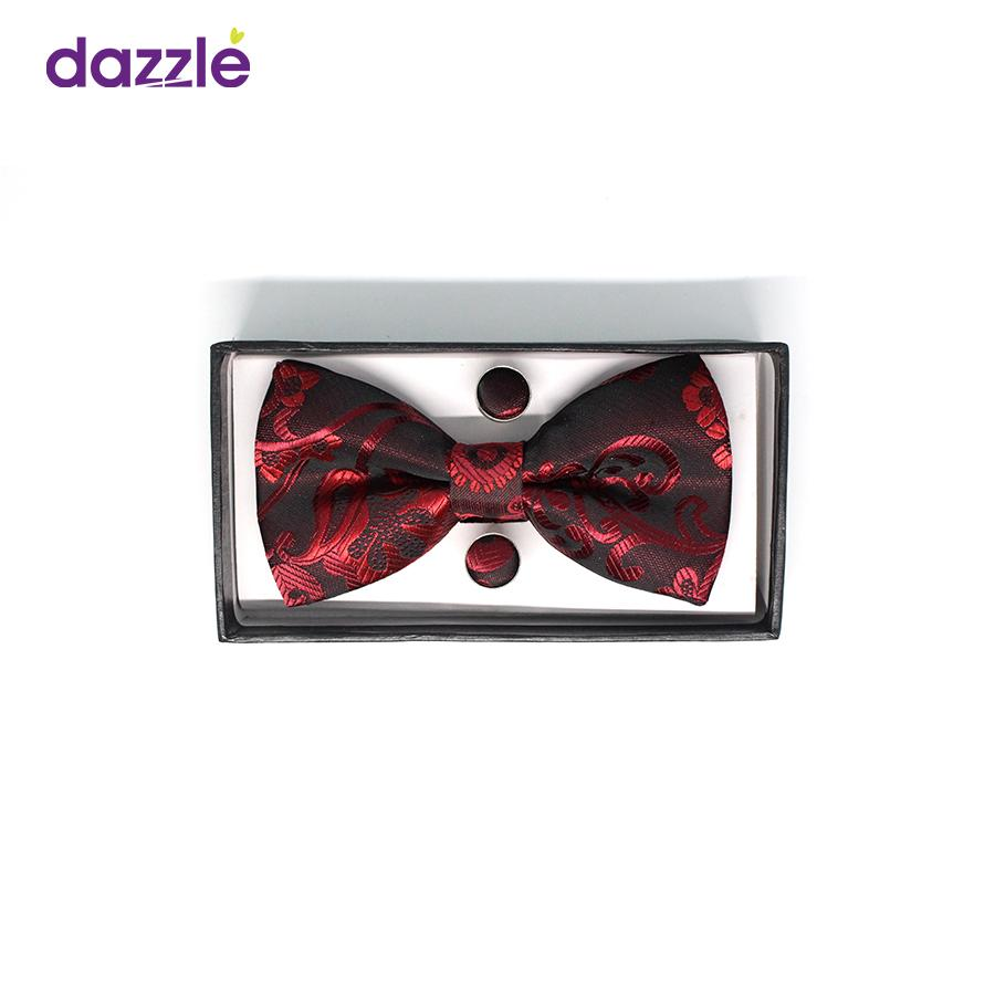 Men's Bow Tie with Cufflinks - Wine and Black - Merch
