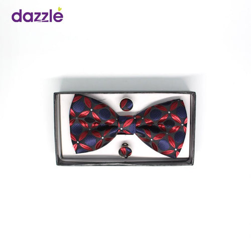 Men's Bow Tie with Cufflinks - Wine and Navy Blue - Merch