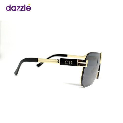 Men's Box Fashion Sunglasses - Black and Gold - Sunglasses