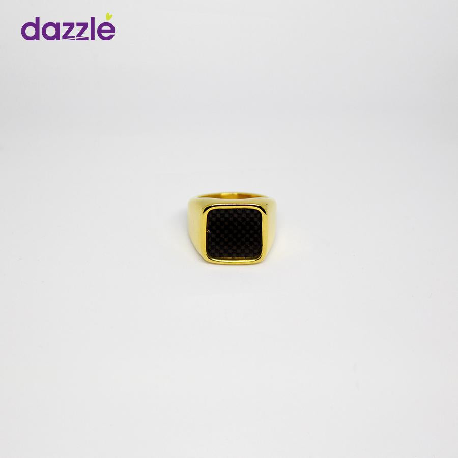 Men's Fashion Ring - Gold and Black - 8 - Merch