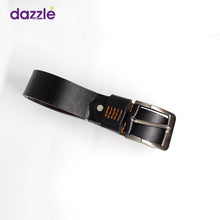 Load image into Gallery viewer, Men's Fashionable Leather Belt - Black with Minimal Orange