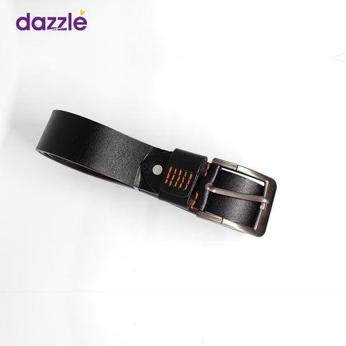Men's Fashionable Leather Belt - Black with Minimal Orange