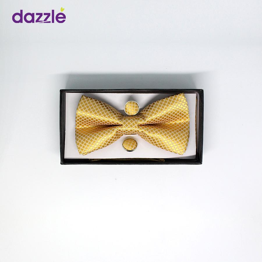 Men's Gold Colored Bow Tie with Cufflinks - Merch