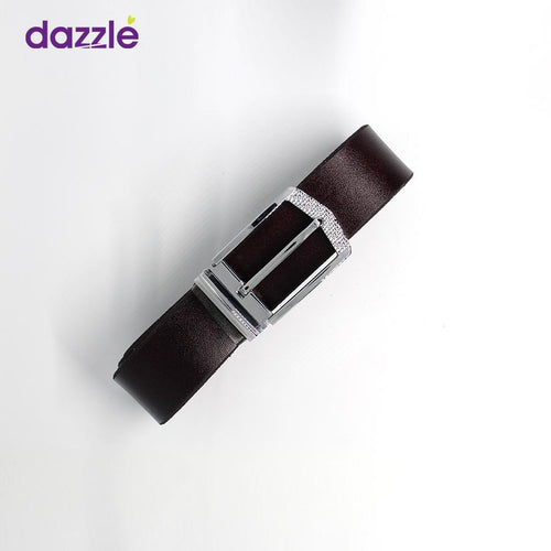 Men's Leather Belt - Dark Brown with Silver Buckle - Merch