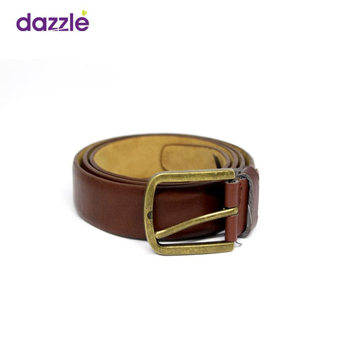 Men's Simple Leather Belt - Brown - Merch
