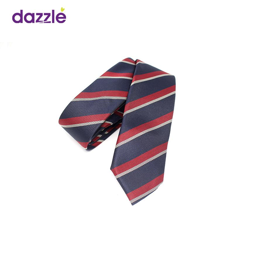 Men's Striped Tie - Wine/Navy/Silver (As Image shows) -