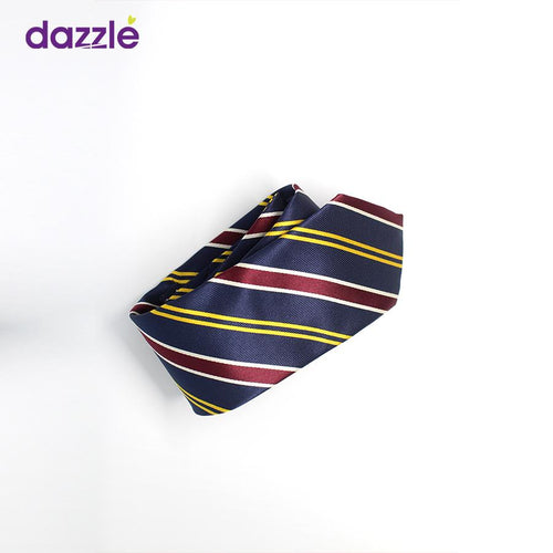 Men's Striped Tie - Yellow/White/Burgundy/Navy (As Image