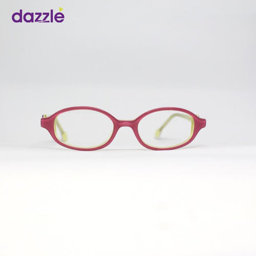 Round Crimson/Yellow Acetate Eyeglasses for Kids - Eyewears