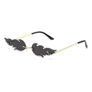 Trendy Retro Luxury Fire Flame Sunglasses - Black & Gold -