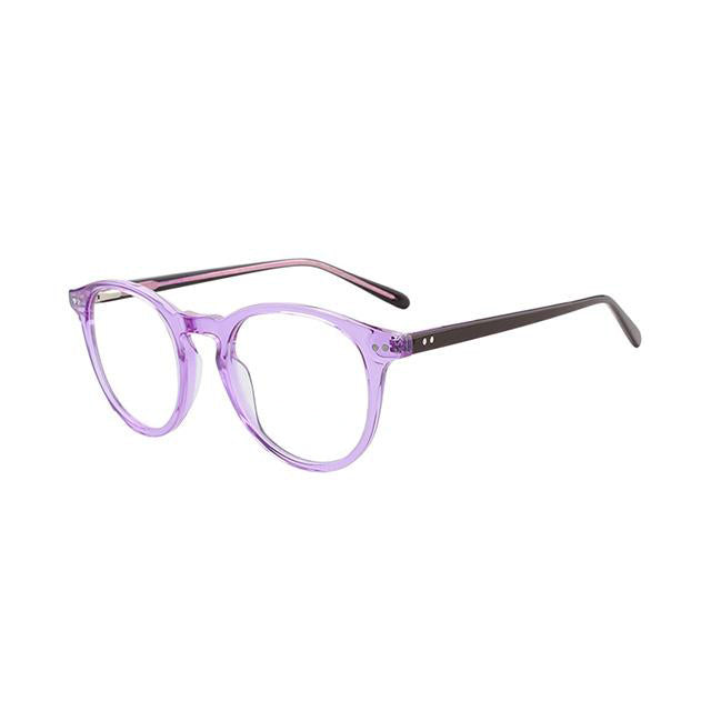 Unisex Acetate Stock Frame Glasses for Prescription Lens - Purple