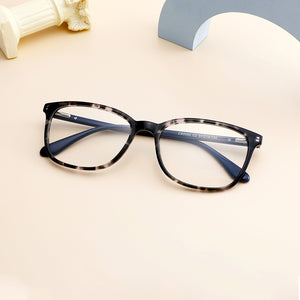 Unisex Acetate Tortoise Stock Frame Eyeglasses for Prescription Lenses - Animal Print