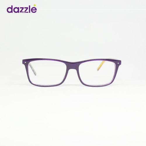 Unisex Purple Glasses with Yellow-Mixed Pattern Temples -