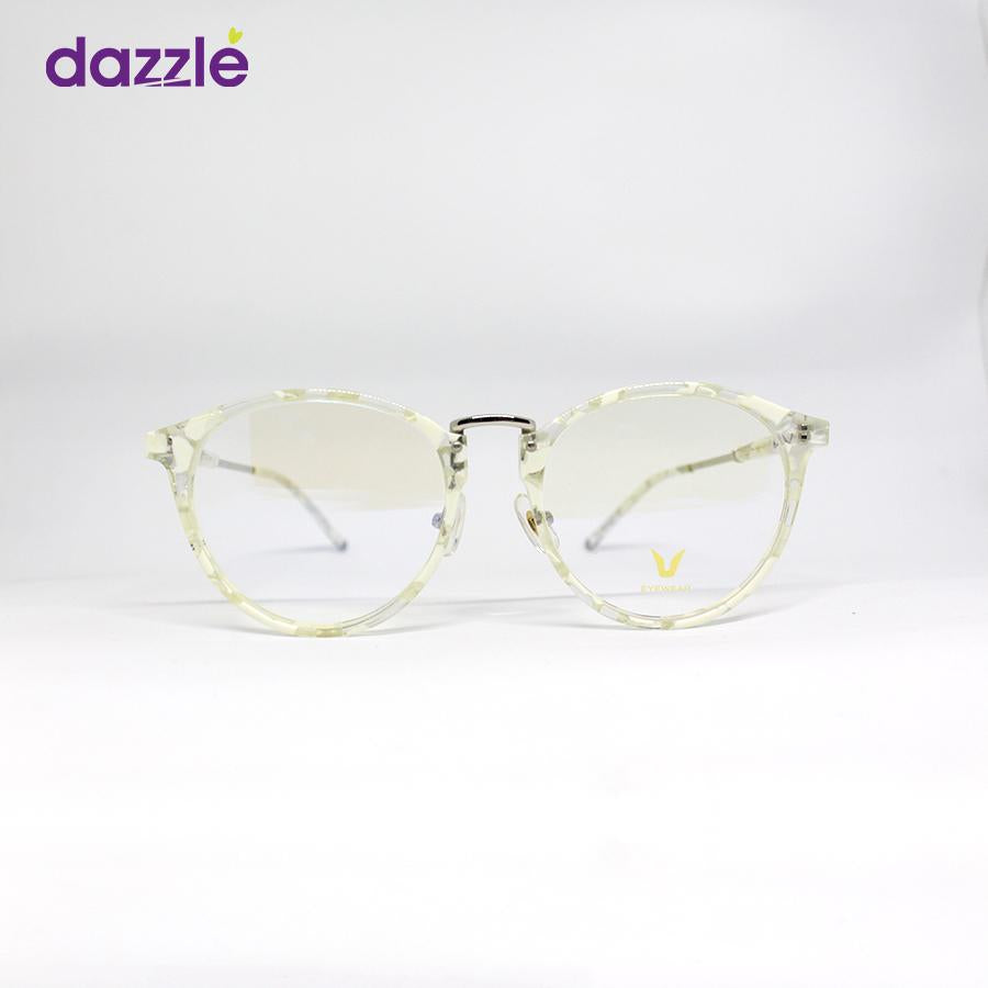 White & Silver Acetate Stock Frame Eyeglasses Male and