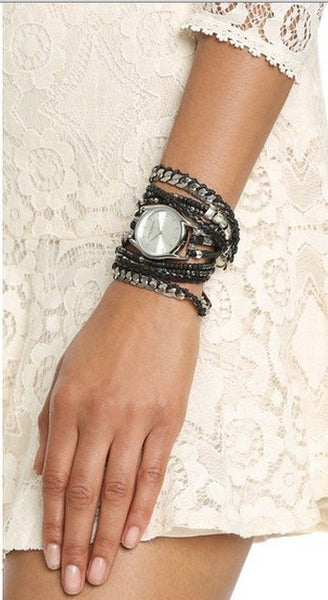 Black Maasai Wrap Watch Handmade Sara Designs