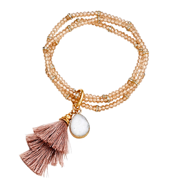 NOA TRIPLE  STRETCHY BRACELET - CHAMPAGNE AND GOLD