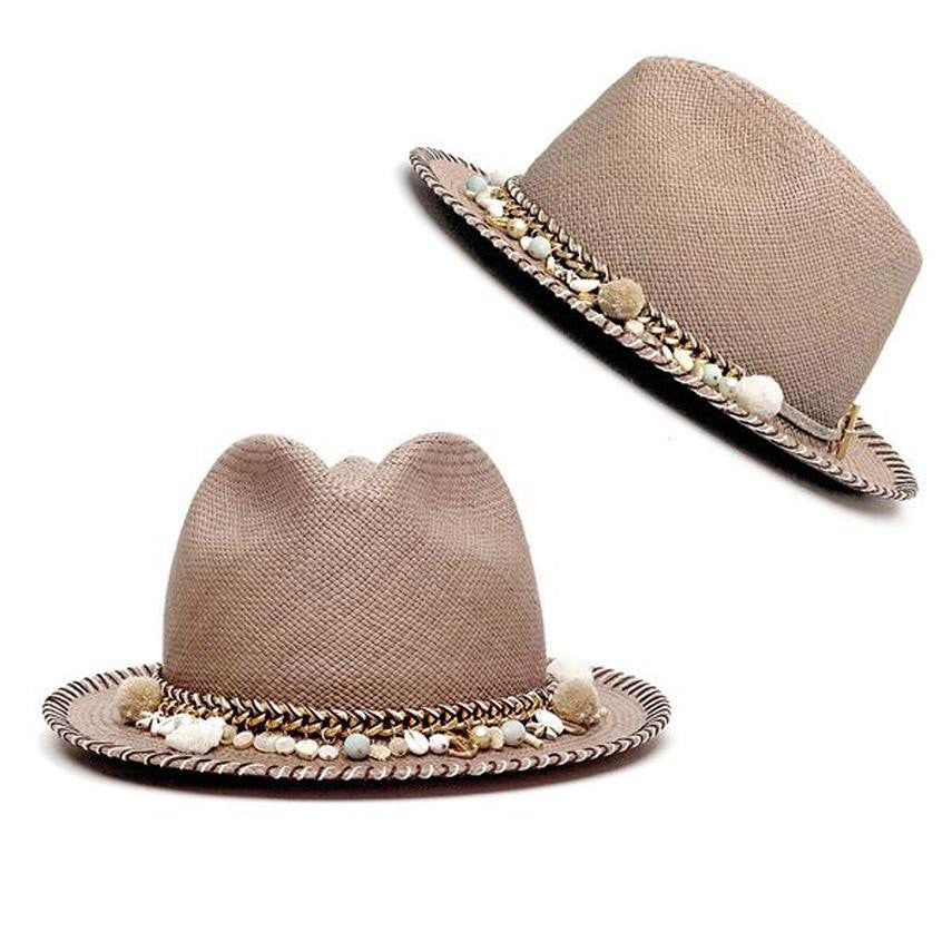 Concha Taupe Diamond Hat Panama Hat Collection