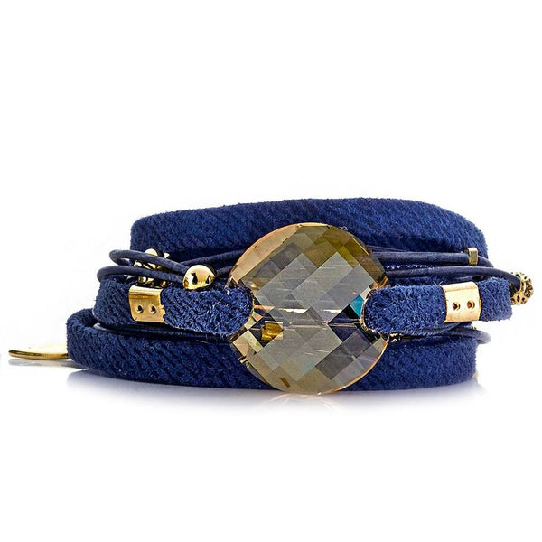 Denim Swarovski Crystal Wrap Bracelet Sara Designs