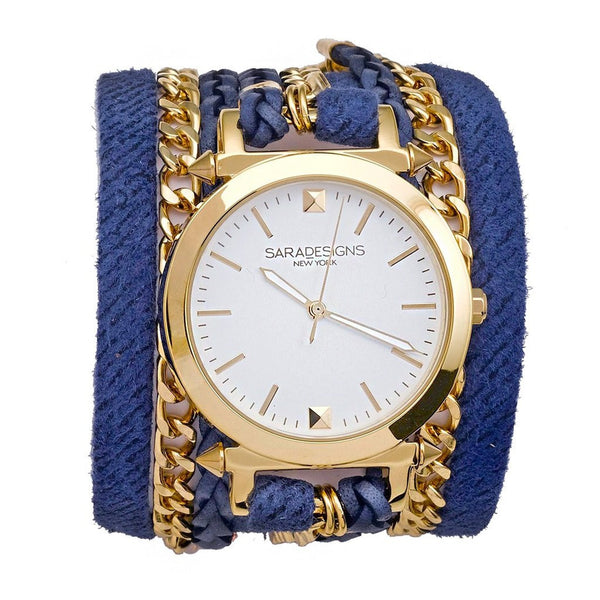 Denim Urban Spike Wrap Watch Sara Designs