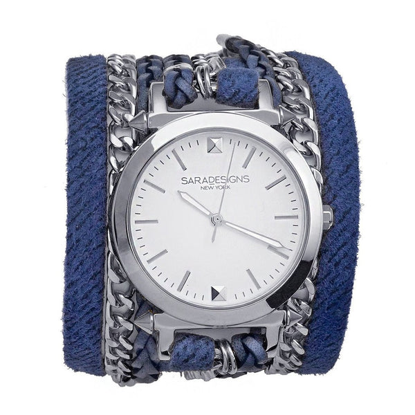 Denim Urban Spike Wrap Watch Silver Sara Designs
