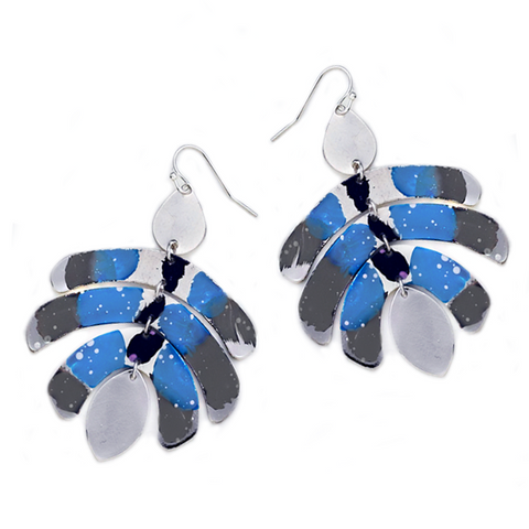 ERIA PAINTED DROP EARRINGS-SILVER/BLUE