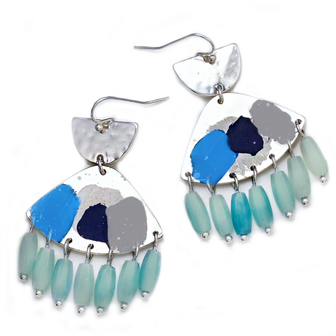 TULUM TASSEL AND BALL DROP EARRINGS- MINT