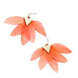 JILL FEATHER DROP EARRINGS- CORAL