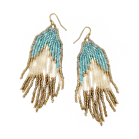 DARA PAINTED HOOP DROP EARRINGS- SILVER/BLUE