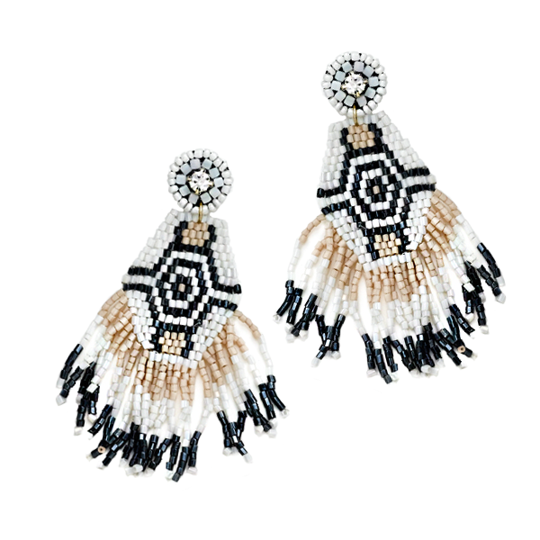 LILA BEADED FRINGE DROP EARRINGS- BLACK & WHITE