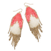 BOHO BEADED FRINGE EARRINGS - CORAL