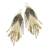 BOHO BEADED FRINGE EARRINGS- PEWTER