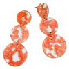 MILI RESIN 3 ROUNDS DROP EARRINGS- CORAL