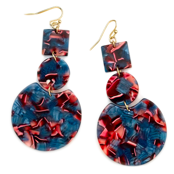 LIA RESIN DROP EARRINGS-BLUE MIX