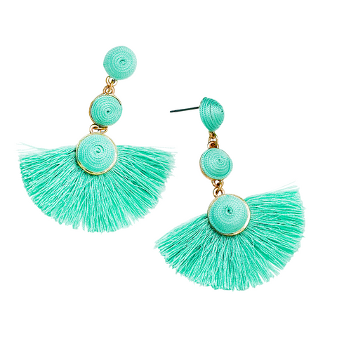 MILI RESIN 3 ROUNDS DROP EARRINGS-MINT