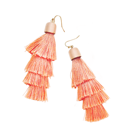FLORA TASSEL DROP EARRINGS- GREY