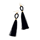 ISLA BLACK TASSEL DROP EARRINGS