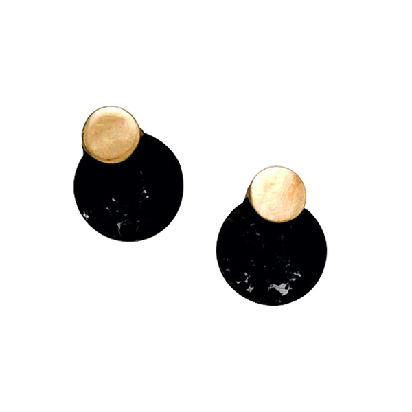 RIRI HOWLITE STUD EARRINGS- BLACK