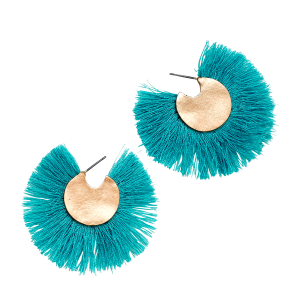 CHA CHA FRINGE HOOP EARRINGS - TURQUOISE