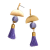 TULUM TASSEL AND BALL DROP EARRINGS- VIOLET