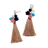 FLORA TASSEL DRO EARRINGS- LIGHT BROWN