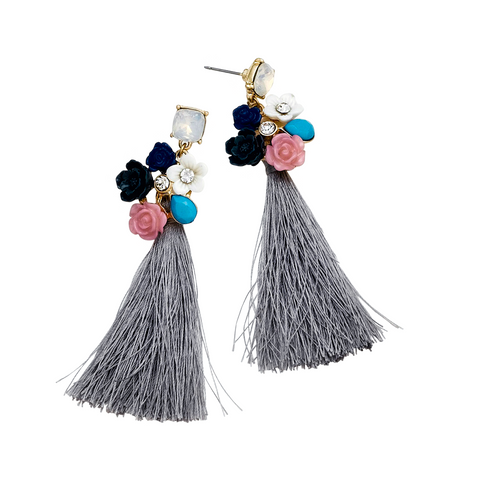 CHA CHA FRINGE HOOP EARRINGS - GREY